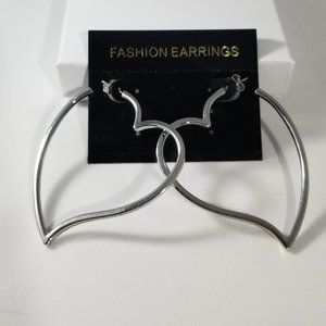 Freedom Fashion Rhodium Plated Finish Triplet Hooplet Earrings
